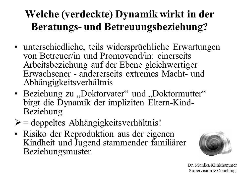 Dr. Monika Klinkhammer Supervision & Coaching Welche (verdeckte) Dynamik wirkt in der Beratungs- und Betreuungsbeziehung? unterschiedliche, teils wide