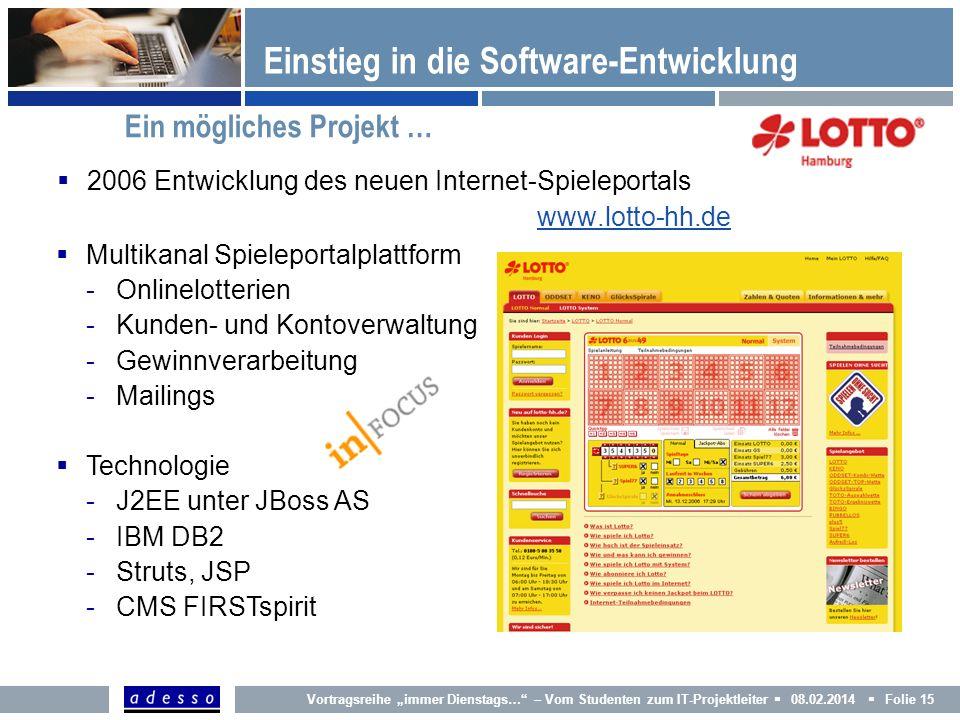 Multikanal Spieleportalplattform -Onlinelotterien -Kunden- und Kontoverwaltung -Gewinnverarbeitung -Mailings Technologie -J2EE unter JBoss AS -IBM DB2