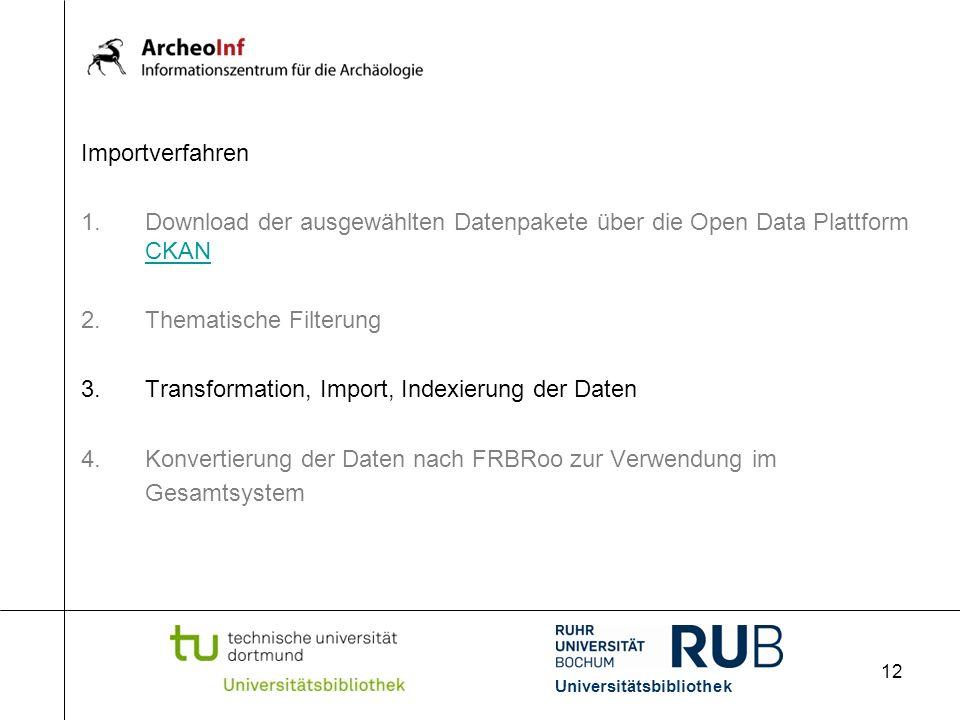 12 Importverfahren 1.Download der ausgewählten Datenpakete über die Open Data Plattform CKAN CKAN 2.Thematische Filterung 3.Transformation, Import, Indexierung der Daten 4.Konvertierung der Daten nach FRBRoo zur Verwendung im Gesamtsystem Universitätsbibliothek
