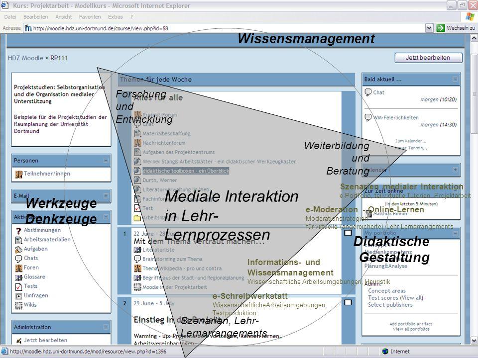 Projektbereich Informations- und Kommunikationsmedien Mediale Interaktion 2006Matthias Heiner Forschung und Entwicklung Werkzeuge Denkzeuge Didaktische Gestaltung Wissensmanagement Mediale Interaktion in Lehr- Lernprozessen HOCHSCHULDIDAKTIK-ON-LINE - FACHINFORMATION, QUALIFIZIERUNG, VERNETZUNG Internetportal und Plattform der Hochschuldidaktik in NRW (MSWF-NRW) Szenarien, Lehr- Lernarrangements Weiterbildung und Beratung EU [eComp]Int: EUROPEAN eCOMPETENCE INITIATIVE FOR HIGHER EDUCATION STAFF (CARRIED OUT WITH THE SUPPORT OF THE EUROPEAN COMMISSION, DIRECTORATE GENERAL FOR EDUCATION AND CULTURE - eLEARNING INITIATIVE)