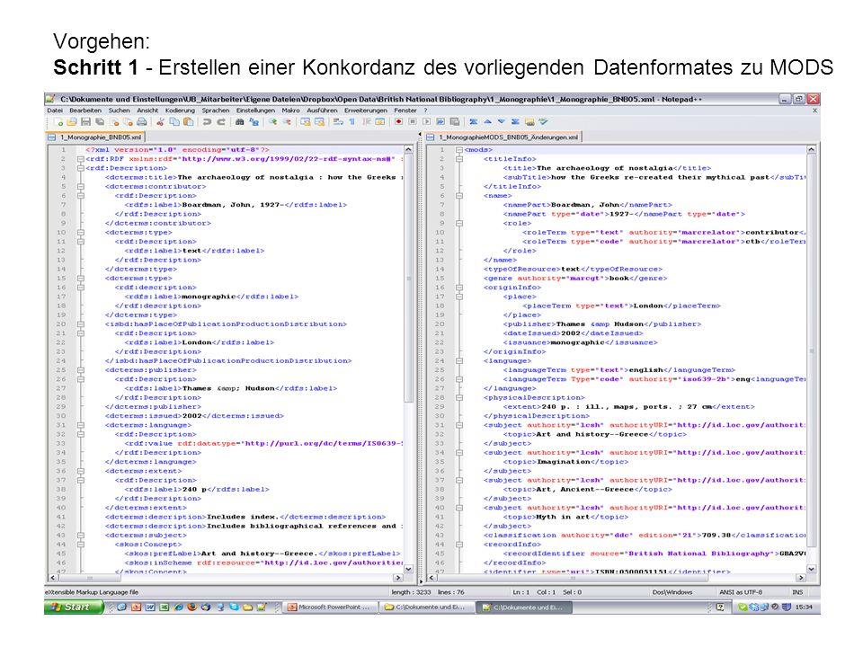 Vorgehen: Schritt 1 - Erstellen einer Konkordanz des vorliegenden Datenformates zu MODS