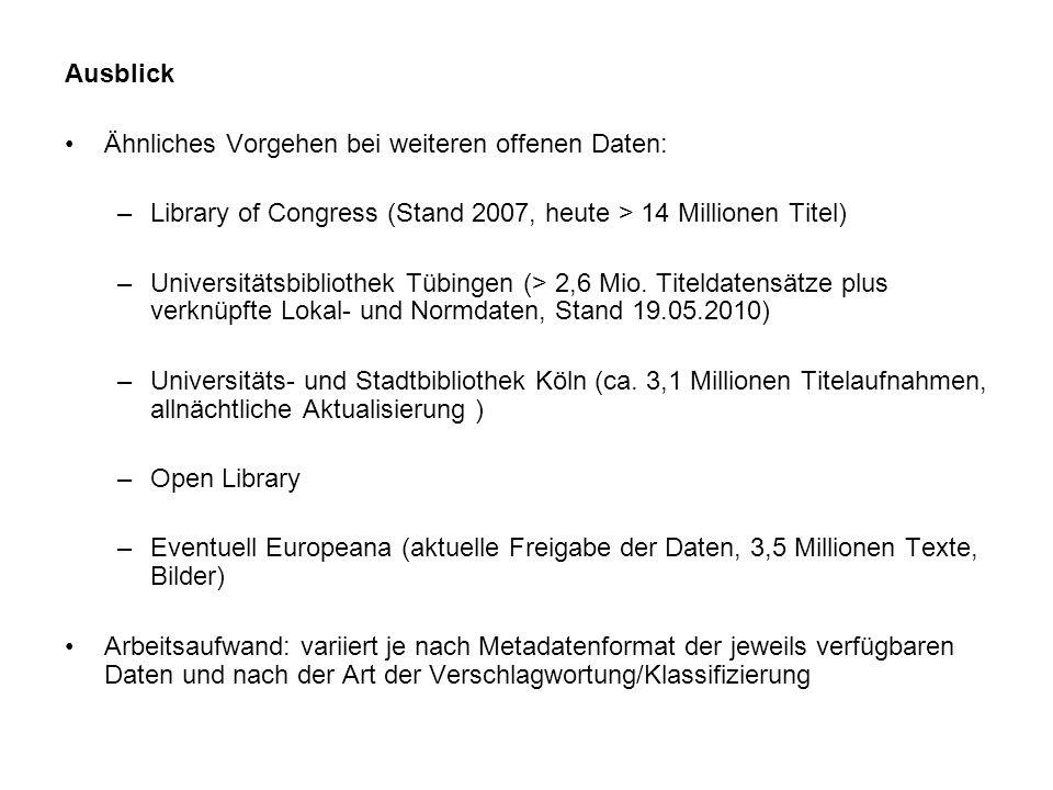 Ausblick Ähnliches Vorgehen bei weiteren offenen Daten: –Library of Congress (Stand 2007, heute > 14 Millionen Titel) –Universitätsbibliothek Tübingen (> 2,6 Mio.