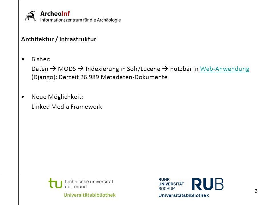 6 Architektur / Infrastruktur Bisher: Daten MODS Indexierung in Solr/Lucene nutzbar in Web-Anwendung (Django): Derzeit 26.989 Metadaten-DokumenteWeb-A