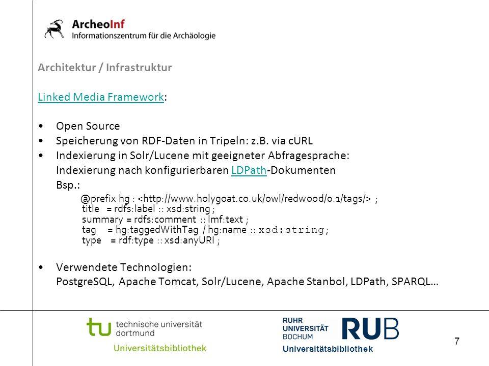 8 Architektur / Infrastruktur Prototypische Instanz: http://lxsisis2.ub.tu-dortmund.de:8082/ArcheoInf/http://lxsisis2.ub.tu-dortmund.de:8082/ArcheoInf/ Daten: BNB, USB Köln, Swets, Projekt Gela, Funddaten Ripacandida; 2.626.753 Tripel in 54.943 Dokumenten Sichtbarmachen der Suchergebnisse: Servlet: Kapselung der Solr/Lucene-Zugriffe, Umwandlung XML HTML per XSLT Prototypische Instanz: http://129.217.132.132:9000/search/?q=*%3A*http://129.217.132.132:9000/search/?q=*%3A* Universitätsbibliothek
