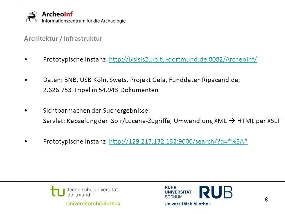 8 Architektur / Infrastruktur Prototypische Instanz: http://lxsisis2.ub.tu-dortmund.de:8082/ArcheoInf/http://lxsisis2.ub.tu-dortmund.de:8082/ArcheoInf