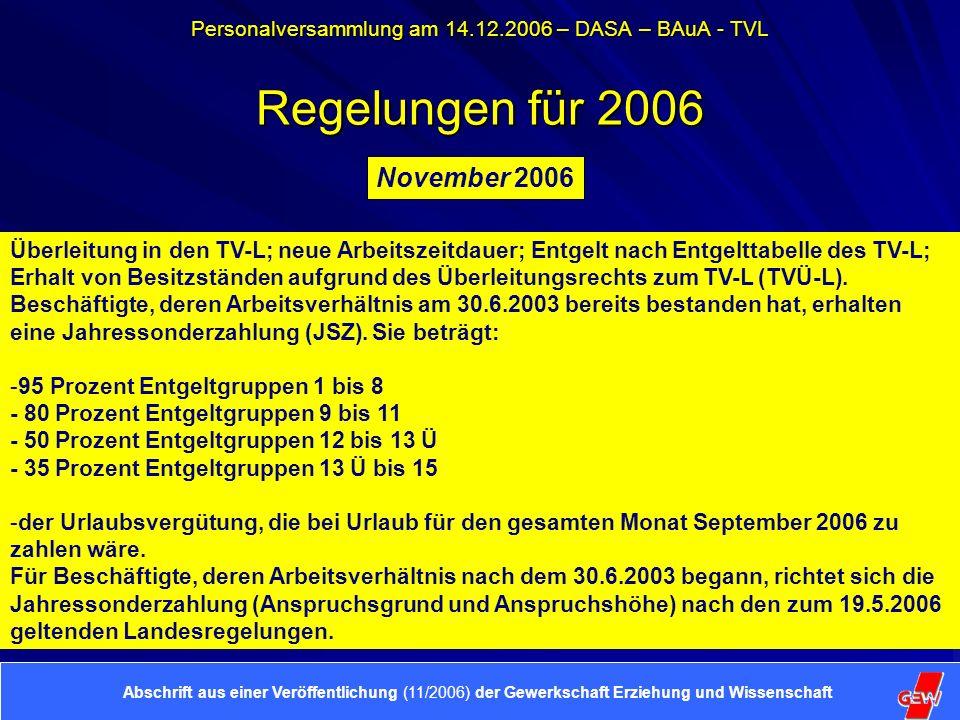 Personalversammlung am 14.12.2006 – DASA – BAuA - TVL Achtung wichtiger Termin.