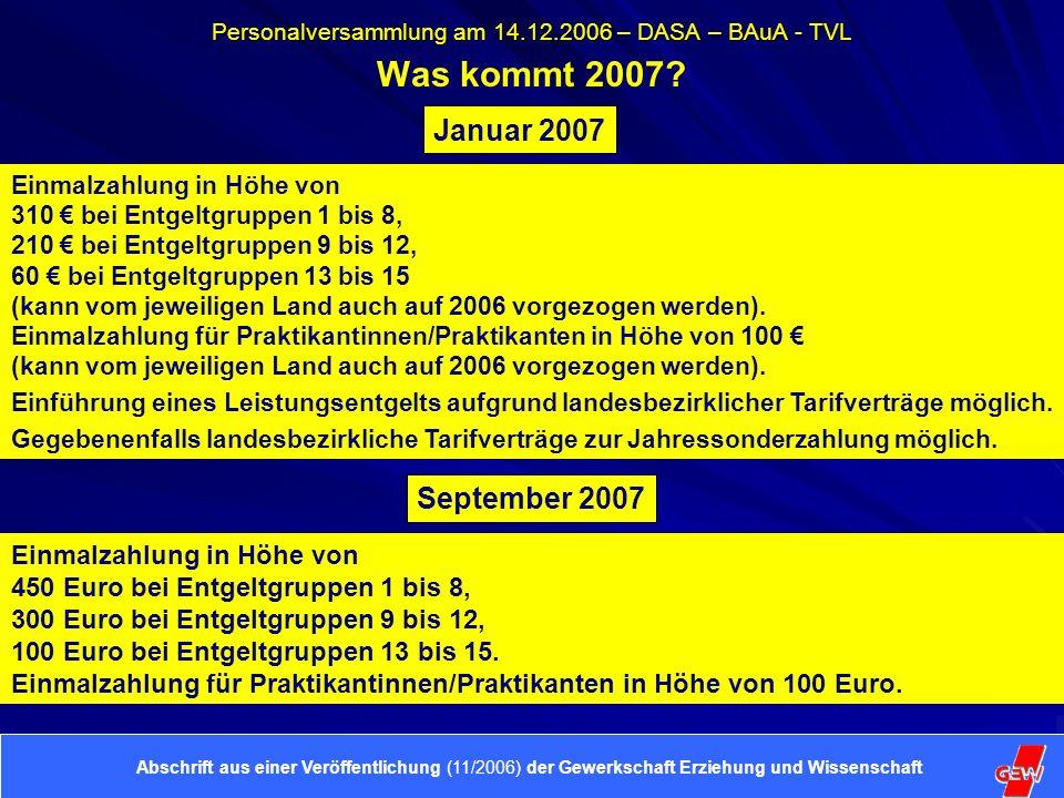 Personalversammlung am 14.12.2006 – DASA – BAuA - TVL Was kommt 2007.