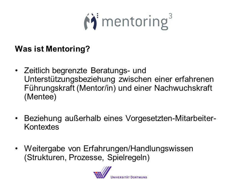 Was ist Mentoring? Zeitlich begrenzte Beratungs- und Unterstützungsbeziehung zwischen einer erfahrenen Führungskraft (Mentor/in) und einer Nachwuchskr