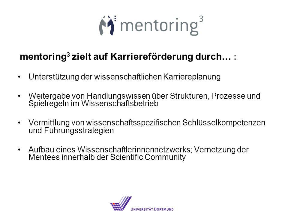 mentoring 3 zielt auf Karriereförderung durch… : Unterstützung der wissenschaftlichen Karriereplanung Weitergabe von Handlungswissen über Strukturen, Prozesse und Spielregeln im Wissenschaftsbetrieb Vermittlung von wissenschaftsspezifischen Schlüsselkompetenzen und Führungsstrategien Aufbau eines Wissenschaftlerinnennetzwerks; Vernetzung der Mentees innerhalb der Scientific Community