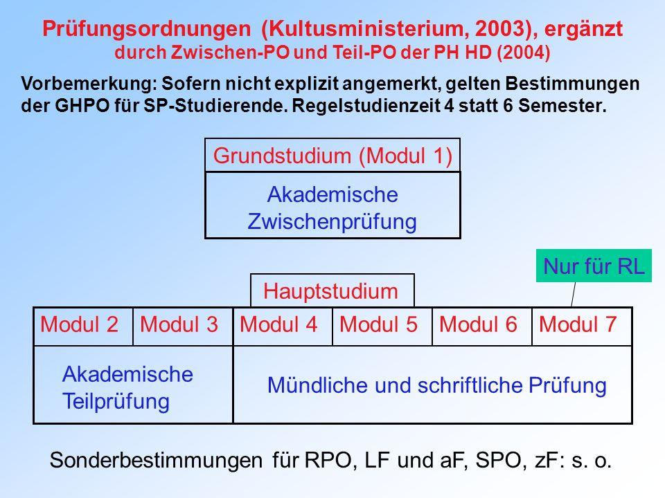 Prüfungsordnungen (Kultusministerium, 2003), ergänzt durch Zwischen-PO und Teil-PO der PH HD (2004) Vorbemerkung: Sofern nicht explizit angemerkt, gel
