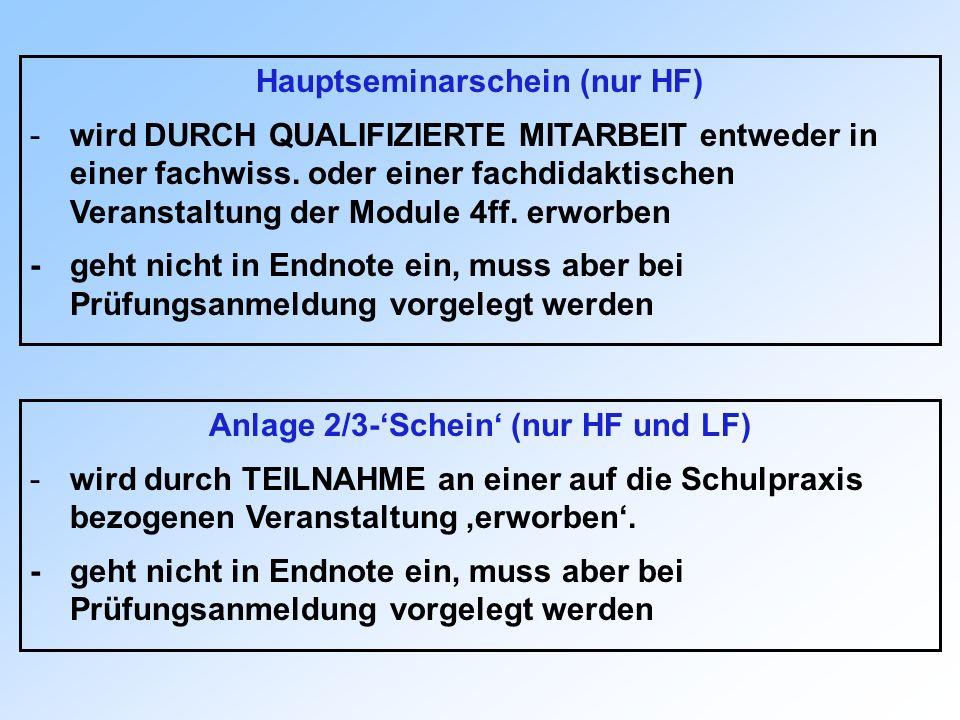 Hauptseminarschein (nur HF) -wird DURCH QUALIFIZIERTE MITARBEIT entweder in einer fachwiss. oder einer fachdidaktischen Veranstaltung der Module 4ff.