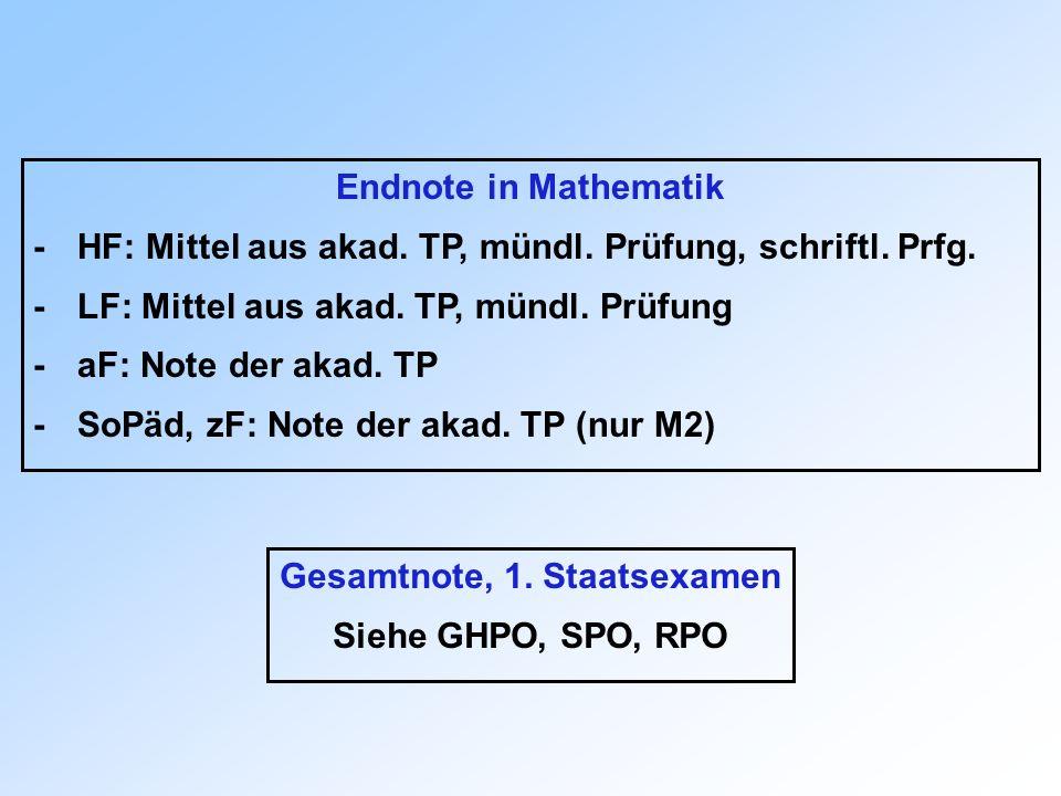 Endnote in Mathematik -HF: Mittel aus akad. TP, mündl. Prüfung, schriftl. Prfg. -LF: Mittel aus akad. TP, mündl. Prüfung -aF: Note der akad. TP -SoPäd