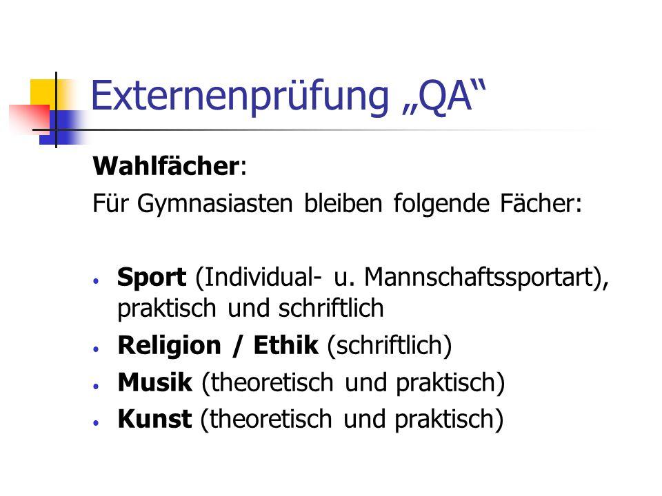 Externenprüfung QA Wahlfächer: Für Gymnasiasten bleiben folgende Fächer: Sport (Individual- u. Mannschaftssportart), praktisch und schriftlich Religio