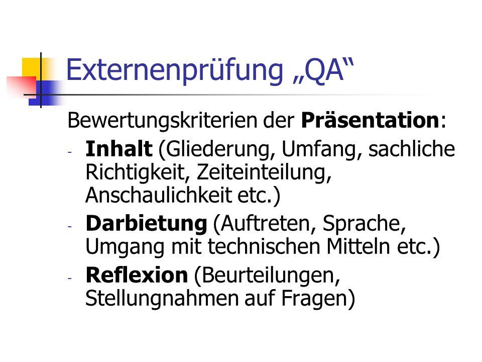 Externenprüfung QA Bewertungskriterien der Präsentation: - Inhalt (Gliederung, Umfang, sachliche Richtigkeit, Zeiteinteilung, Anschaulichkeit etc.) -