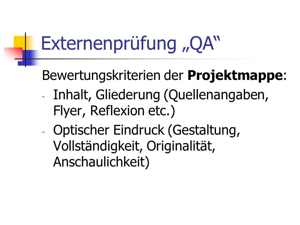 Externenprüfung QA Bewertungskriterien der Projektmappe: - Inhalt, Gliederung (Quellenangaben, Flyer, Reflexion etc.) - Optischer Eindruck (Gestaltung