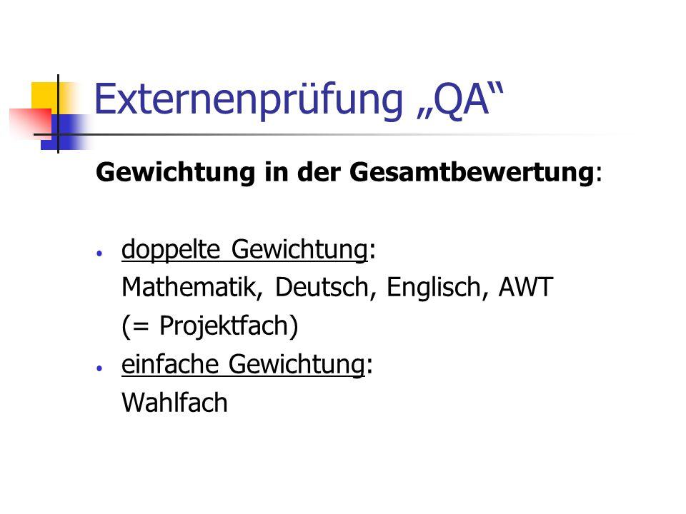 Externenprüfung QA Gewichtung in der Gesamtbewertung: doppelte Gewichtung: Mathematik, Deutsch, Englisch, AWT (= Projektfach) einfache Gewichtung: Wah