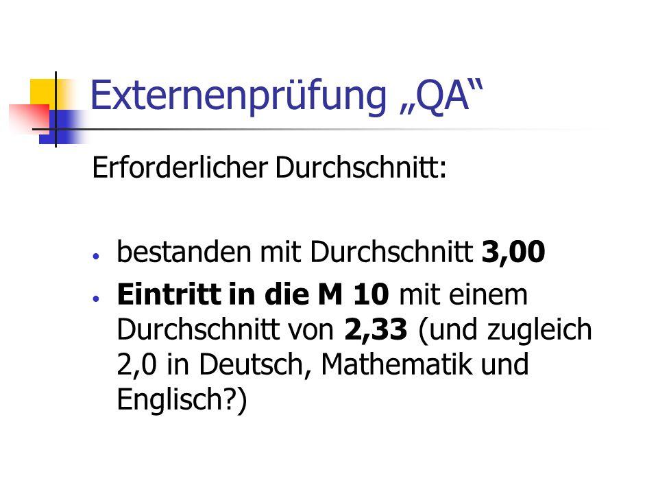 Externenprüfung QA Erforderlicher Durchschnitt: bestanden mit Durchschnitt 3,00 Eintritt in die M 10 mit einem Durchschnitt von 2,33 (und zugleich 2,0