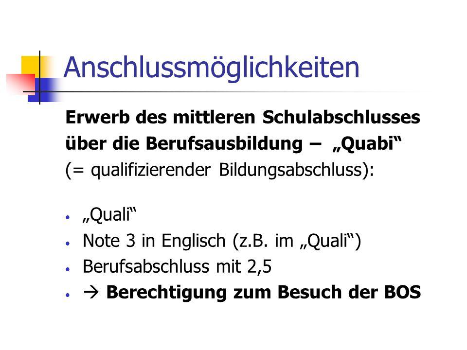 Anschlussmöglichkeiten Erwerb des mittleren Schulabschlusses über die Berufsausbildung – Quabi (= qualifizierender Bildungsabschluss): Quali Note 3 in