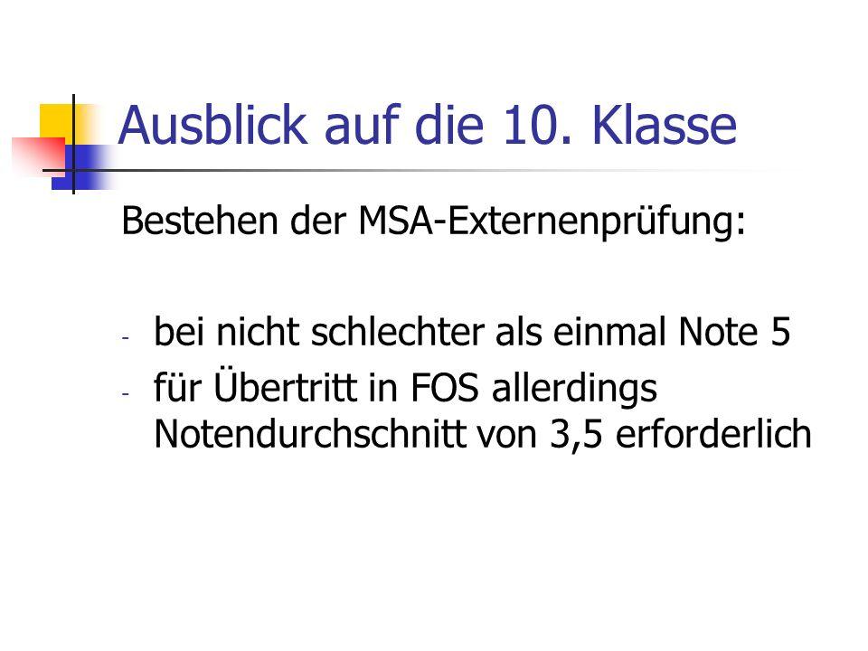 Ausblick auf die 10. Klasse Bestehen der MSA-Externenprüfung: - bei nicht schlechter als einmal Note 5 - für Übertritt in FOS allerdings Notendurchsch