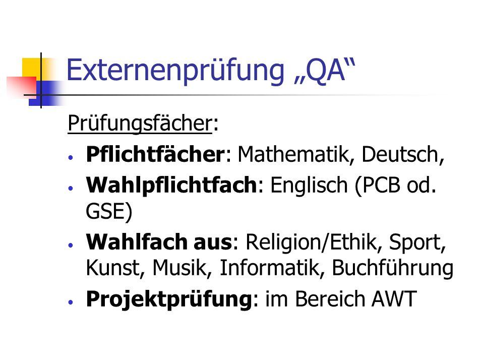 Externenprüfung QA Prüfungsfächer: Pflichtfächer: Mathematik, Deutsch, Wahlpflichtfach: Englisch (PCB od. GSE) Wahlfach aus: Religion/Ethik, Sport, Ku
