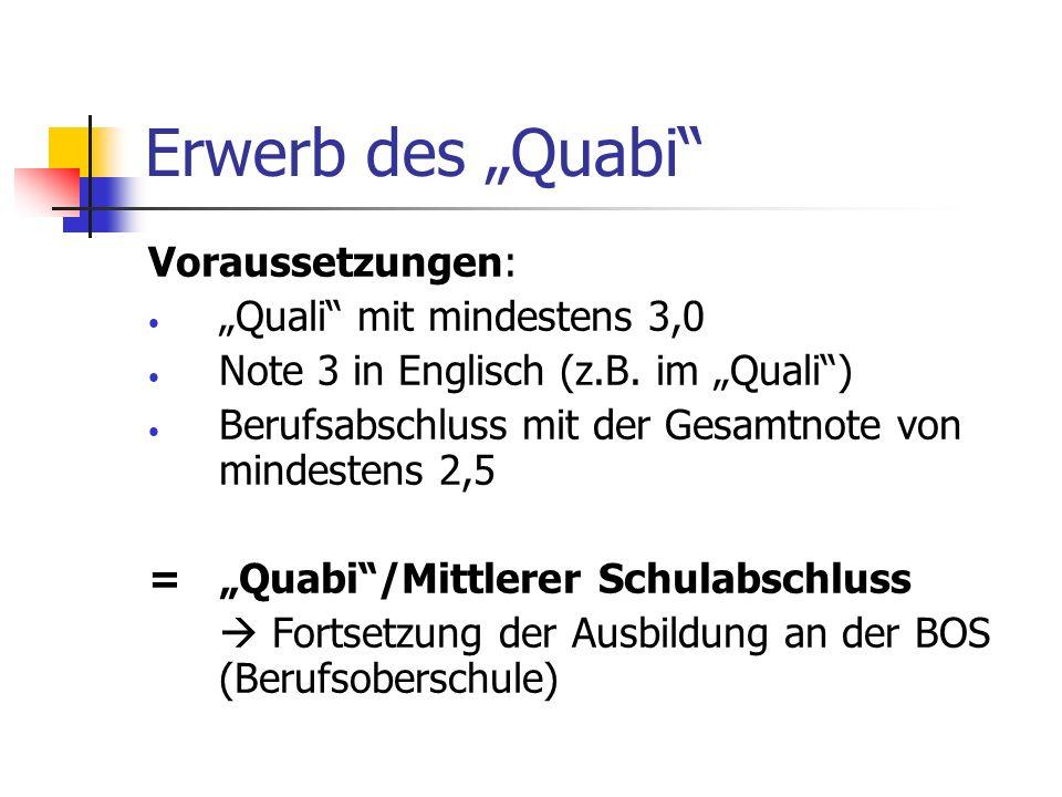 Erwerb des Quabi Voraussetzungen: Quali mit mindestens 3,0 Note 3 in Englisch (z.B. im Quali) Berufsabschluss mit der Gesamtnote von mindestens 2,5 =Q