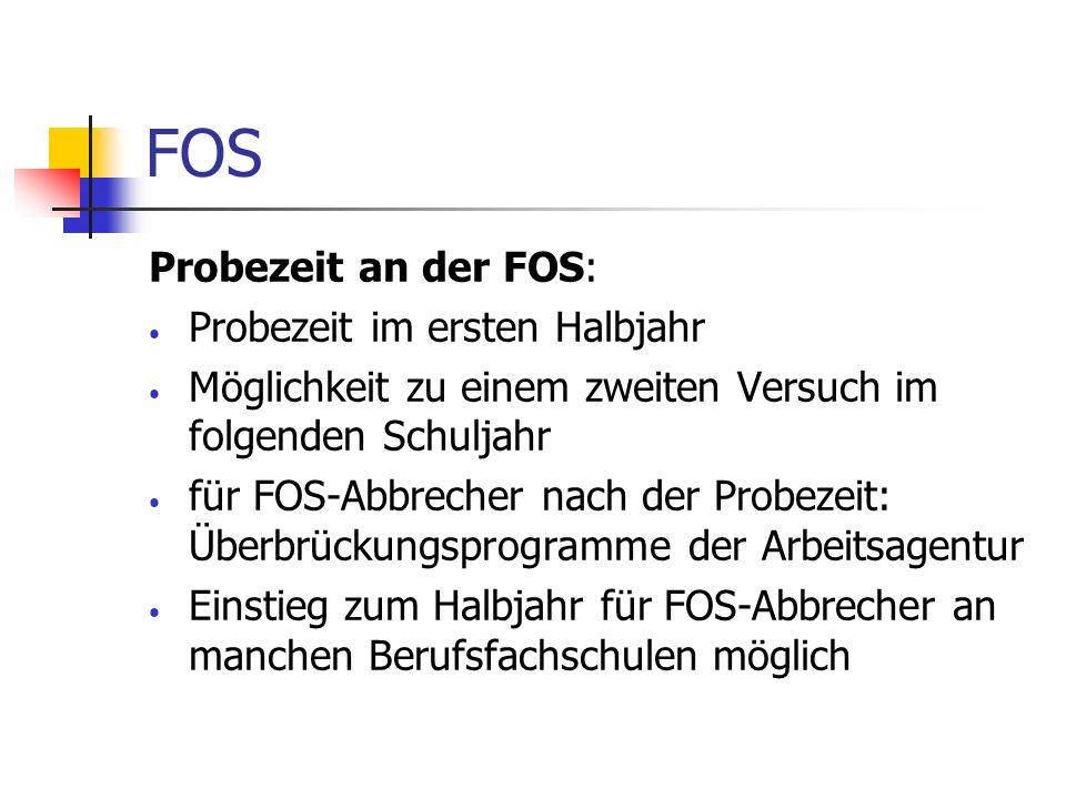 FOS Probezeit an der FOS: Probezeit im ersten Halbjahr Möglichkeit zu einem zweiten Versuch im folgenden Schuljahr für FOS-Abbrecher nach der Probezei