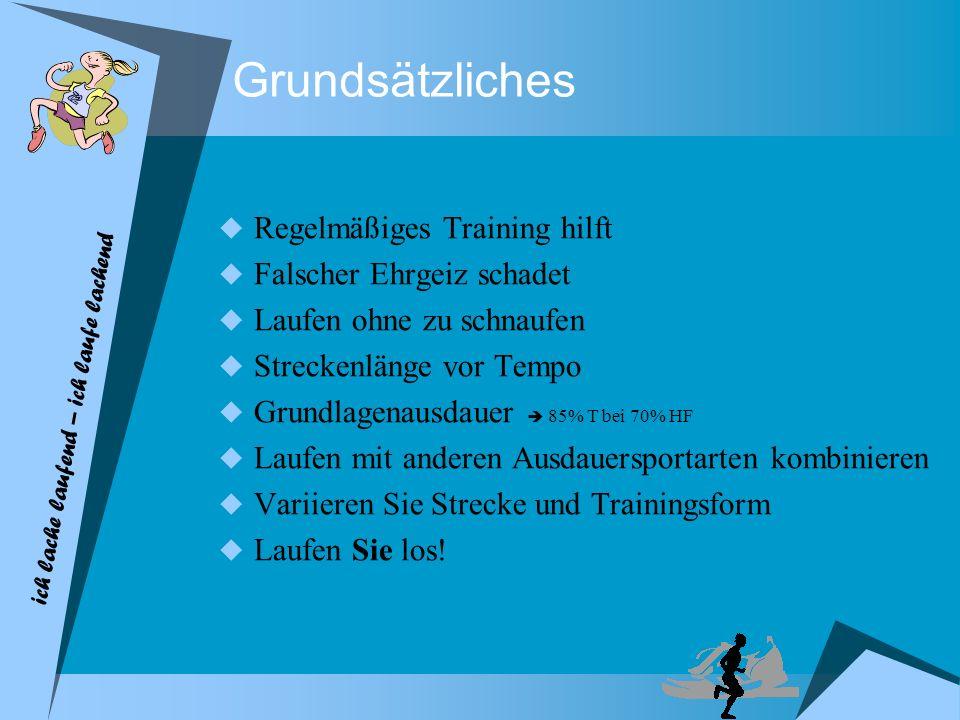 ich lache laufend – ich laufe lachend Grundsätzliches Regelmäßiges Training hilft Falscher Ehrgeiz schadet Laufen ohne zu schnaufen Streckenlänge vor