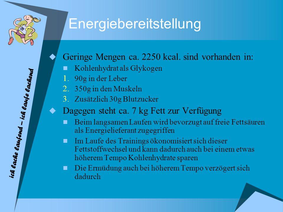 Energiebereitstellung Geringe Mengen ca. 2250 kcal. sind vorhanden in: Kohlenhydrat als Glykogen 1. 90g in der Leber 2. 350g in den Muskeln 3. Zusätzl