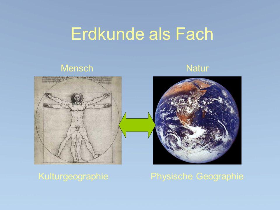 Erdkunde als Fach MenschNatur Kulturgeographie Physische Geographie