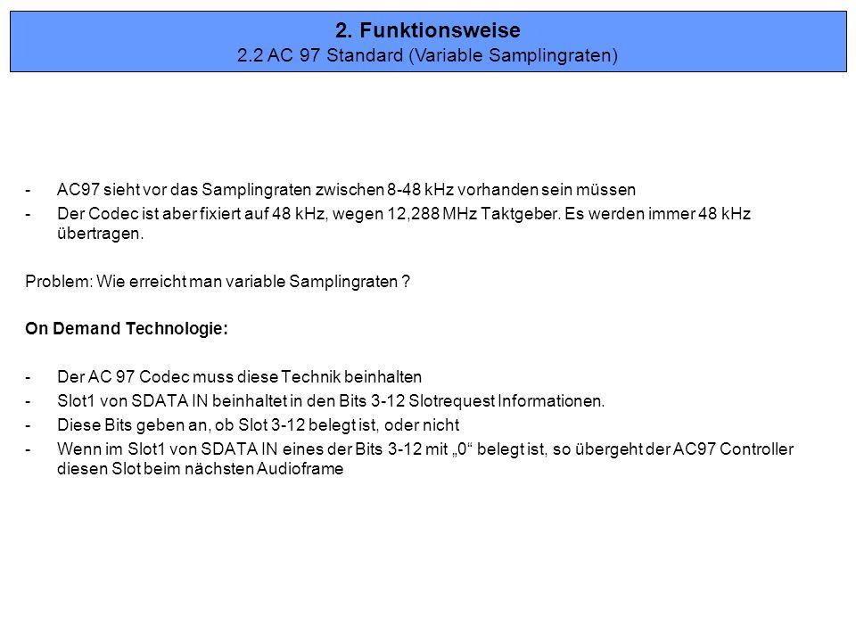 -AC97 sieht vor das Samplingraten zwischen 8-48 kHz vorhanden sein müssen -Der Codec ist aber fixiert auf 48 kHz, wegen 12,288 MHz Taktgeber. Es werde
