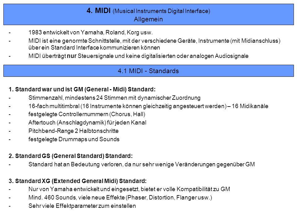 4. MIDI (Musical Instruments Digital Interface) Allgemein -1983 entwickelt von Yamaha, Roland, Korg usw. -MIDI ist eine genormte Schnittstelle, mit de