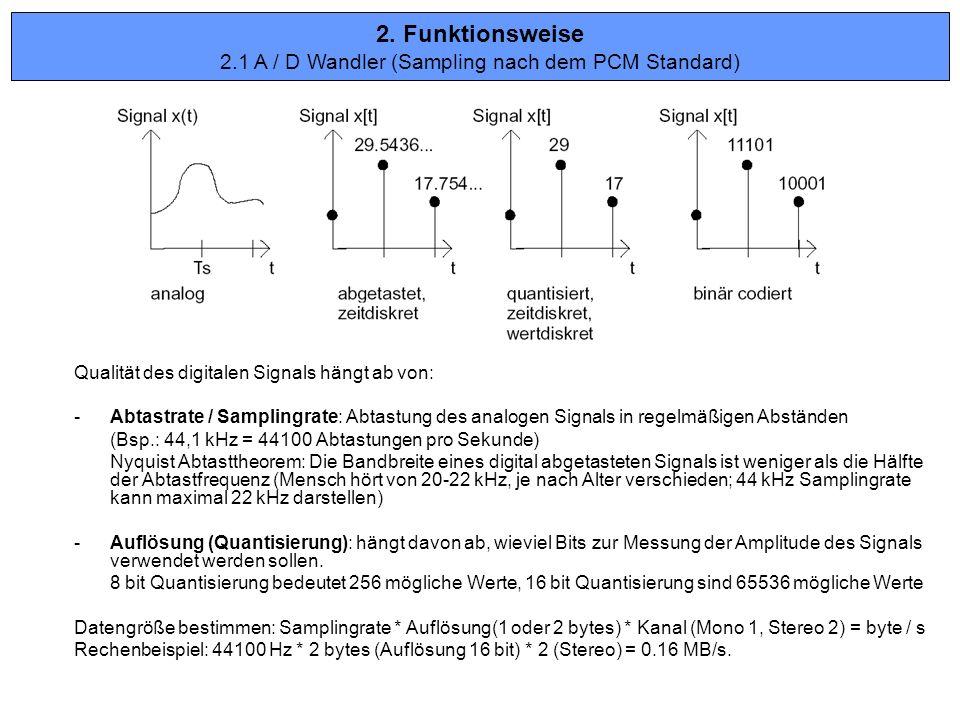 Qualität des digitalen Signals hängt ab von: -Abtastrate / Samplingrate: Abtastung des analogen Signals in regelmäßigen Abständen (Bsp.: 44,1 kHz = 44