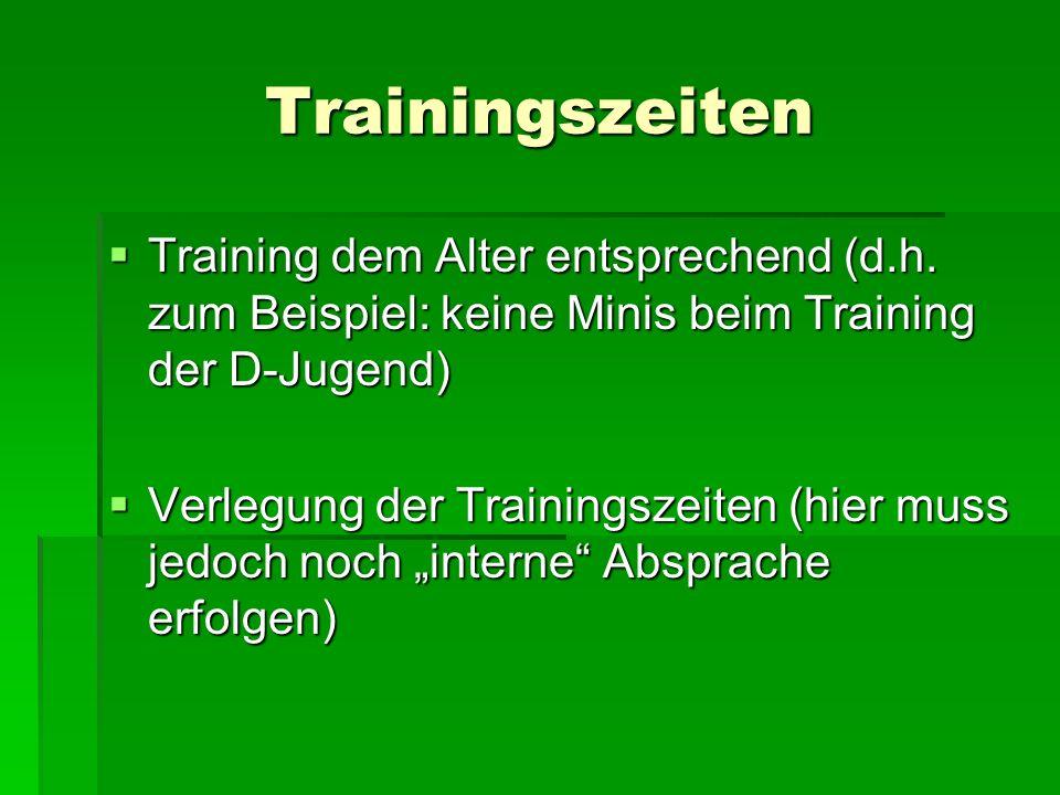 Trainingszeiten Training dem Alter entsprechend (d.h. zum Beispiel: keine Minis beim Training der D-Jugend) Training dem Alter entsprechend (d.h. zum