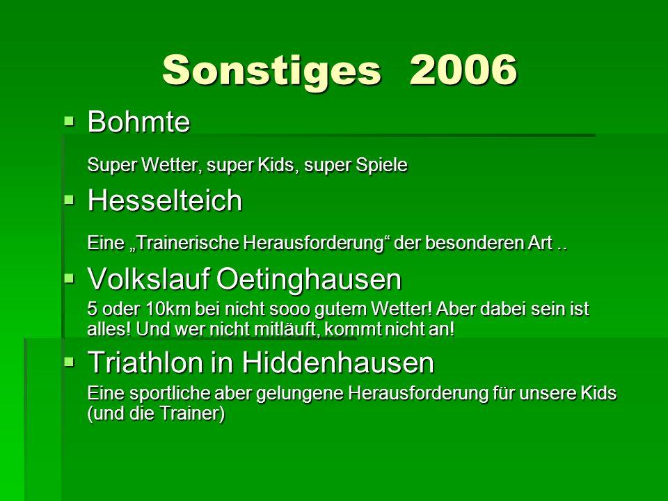 Sonstiges 2006 Bohmte Bohmte Super Wetter, super Kids, super Spiele Hesselteich Hesselteich Eine Trainerische Herausforderung der besonderen Art.. Vol