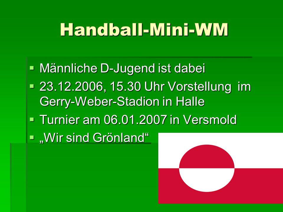 Handball-Mini-WM Männliche D-Jugend ist dabei Männliche D-Jugend ist dabei 23.12.2006, 15.30 Uhr Vorstellung im Gerry-Weber-Stadion in Halle 23.12.200