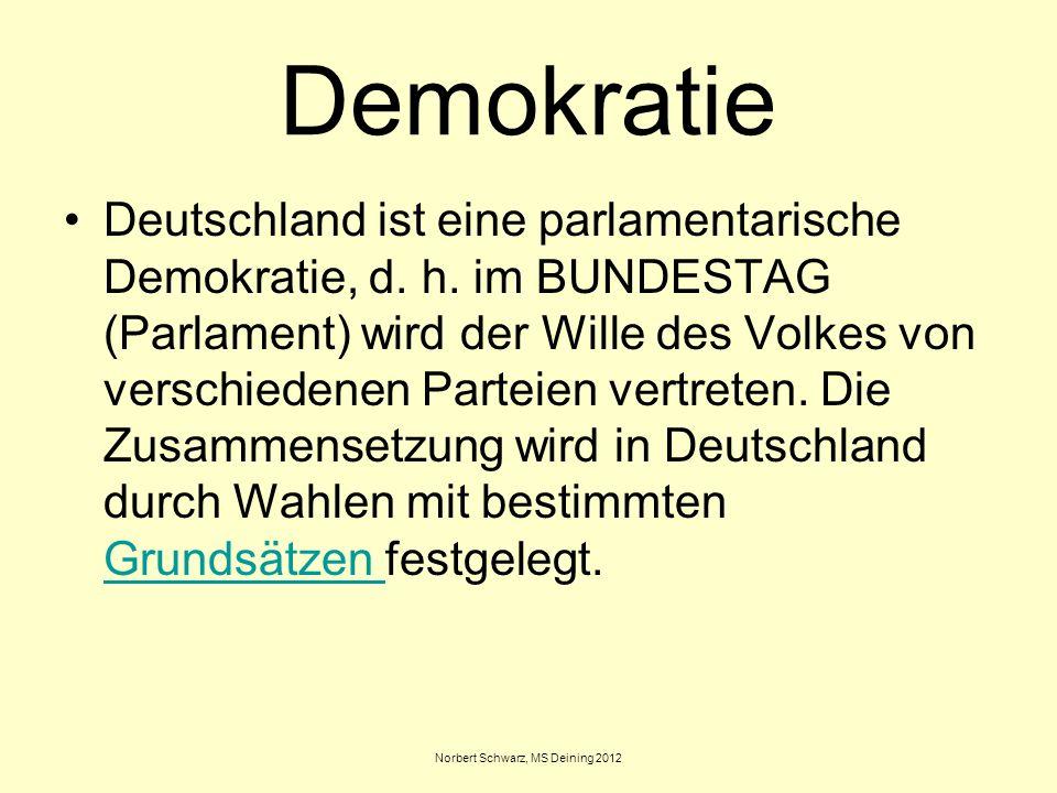 Norbert Schwarz, MS Deining 2012 Demokratie Deutschland ist eine parlamentarische Demokratie, d. h. im BUNDESTAG (Parlament) wird der Wille des Volkes
