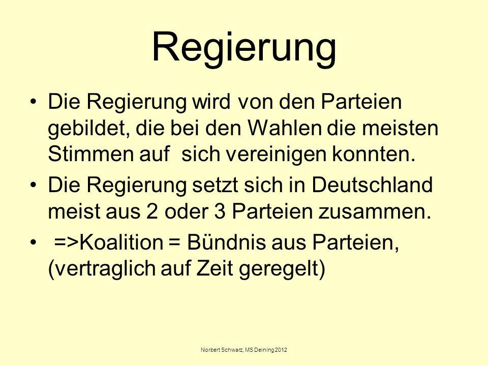 Norbert Schwarz, MS Deining 2012 Regierung Die Regierung wird von den Parteien gebildet, die bei den Wahlen die meisten Stimmen auf sich vereinigen ko