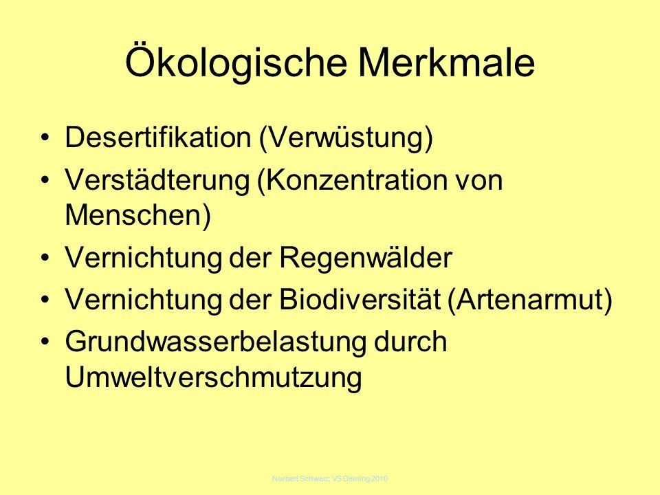Norbert Schwarz, VS Deining 2010 Ökologische Merkmale Desertifikation (Verwüstung) Verstädterung (Konzentration von Menschen) Vernichtung der Regenwäl