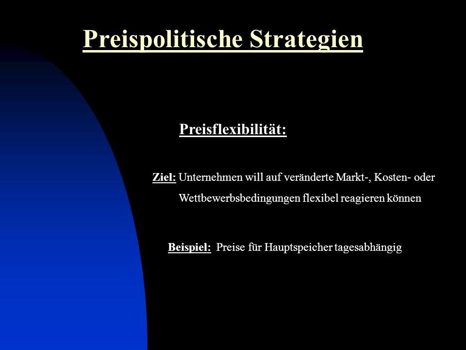 Preisflexibilität: Preispolitische Strategien Ziel: Unternehmen will auf veränderte Markt-, Kosten- oder Wettbewerbsbedingungen flexibel reagieren können Beispiel: Preise für Hauptspeicher tagesabhängig