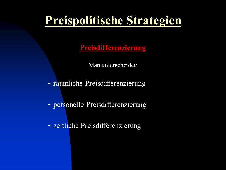 Preispolitische Strategien Preisdifferenzierung Man unterscheidet: - räumliche Preisdifferenzierung - personelle Preisdifferenzierung - zeitliche Preisdifferenzierung