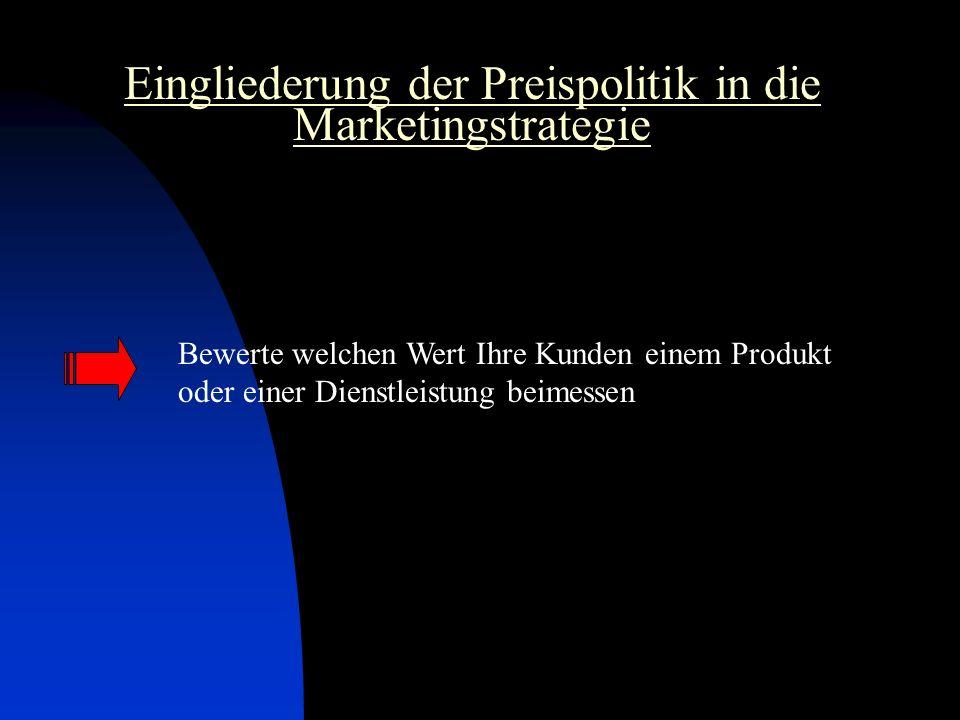 Eingliederung der Preispolitik in die Marketingstrategie Bewerte welchen Wert Ihre Kunden einem Produkt oder einer Dienstleistung beimessen