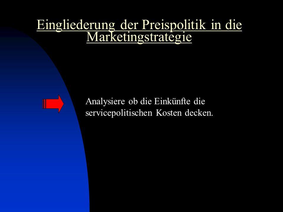 Eingliederung der Preispolitik in die Marketingstrategie Analysiere ob die Einkünfte die servicepolitischen Kosten decken.