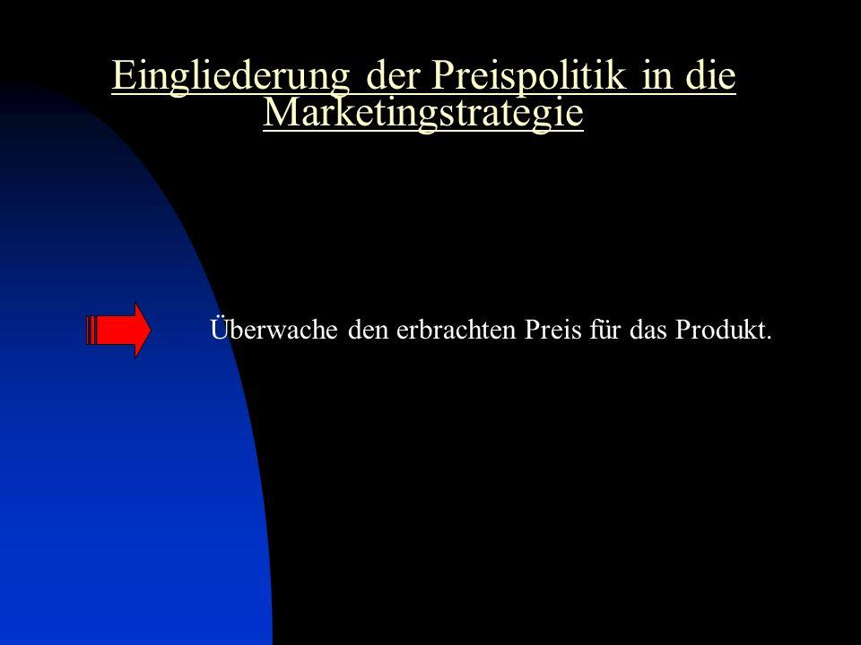Eingliederung der Preispolitik in die Marketingstrategie Überwache den erbrachten Preis für das Produkt.