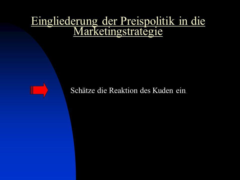 Eingliederung der Preispolitik in die Marketingstrategie Schätze die Reaktion des Kuden ein.
