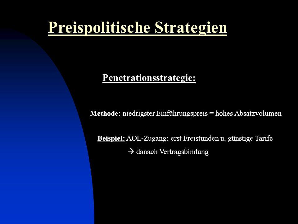 Penetrationsstrategie: Preispolitische Strategien Methode: niedrigster Einführungspreis = hohes Absatzvolumen Beispiel: AOL-Zugang: erst Freistunden u.