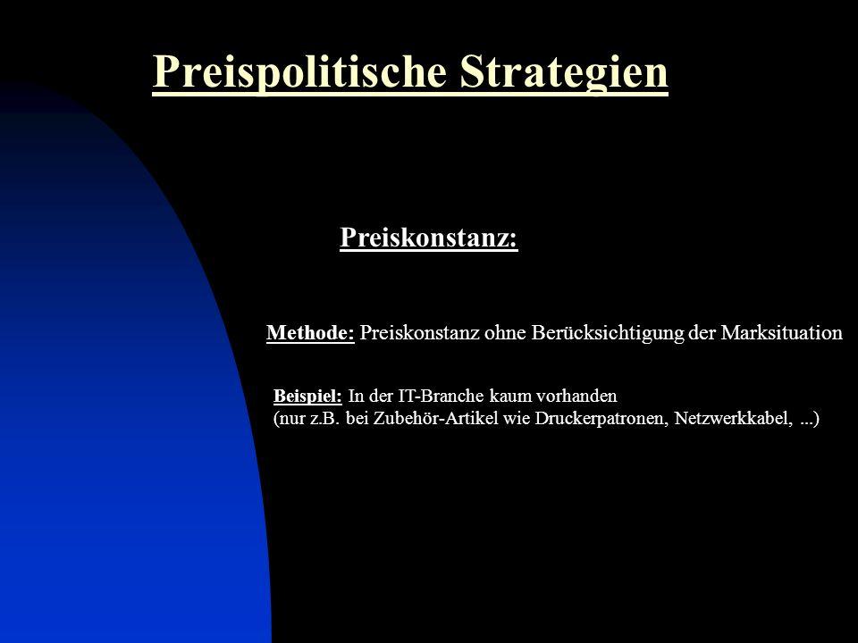 Preiskonstanz: Preispolitische Strategien Methode: Preiskonstanz ohne Berücksichtigung der Marksituation Beispiel: In der IT-Branche kaum vorhanden (nur z.B.