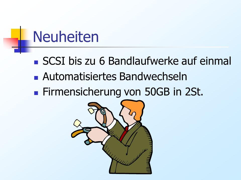 Neuheiten SCSI bis zu 6 Bandlaufwerke auf einmal Automatisiertes Bandwechseln Firmensicherung von 50GB in 2St.