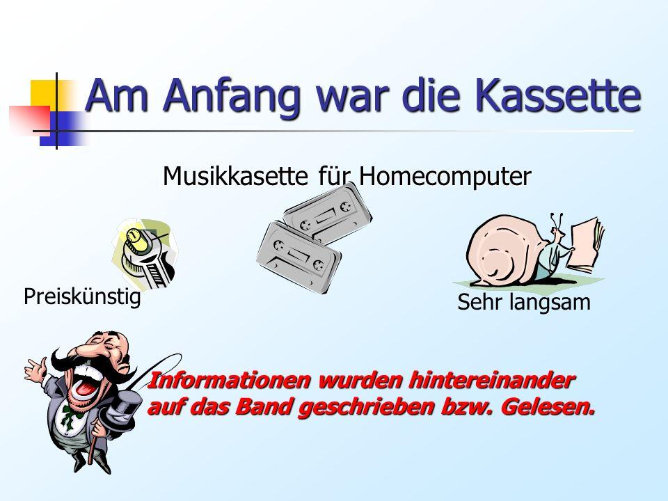 Am Anfang war die Kassette Musikkasette für Homecomputer Preiskünstig Sehr langsam Informationen wurden hintereinander auf das Band geschrieben bzw. G