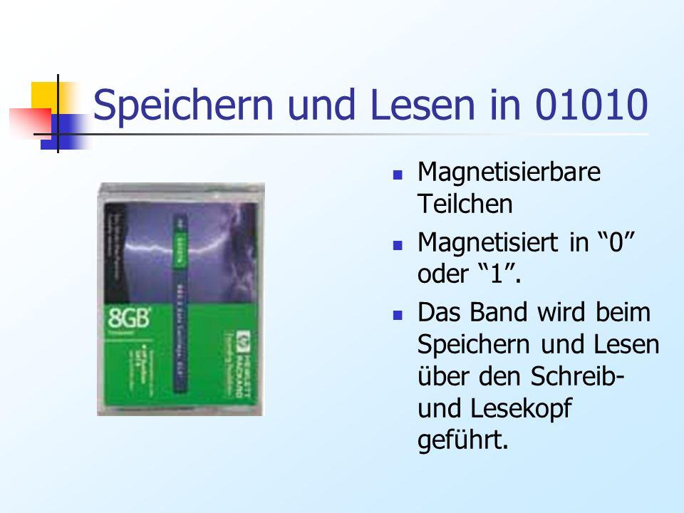 Speichern und Lesen in 01010 Magnetisierbare Teilchen Magnetisiert in 0 oder 1. Das Band wird beim Speichern und Lesen über den Schreib- und Lesekopf