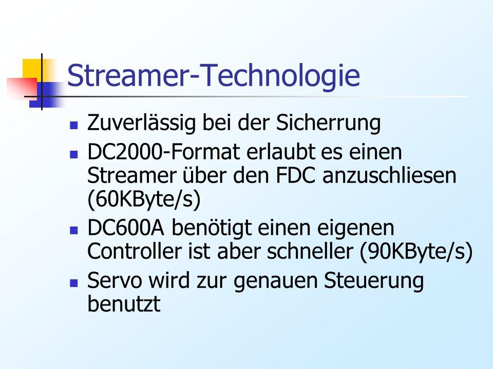 Streamer-Technologie Zuverlässig bei der Sicherrung DC2000-Format erlaubt es einen Streamer über den FDC anzuschliesen (60KByte/s) DC600A benötigt ein